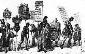 Первая носимая реклама - Картинка из прессы XIX века.
